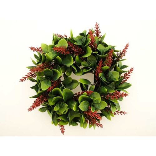 Wianek Liściasty z wrzosem 24cm green-burgundy