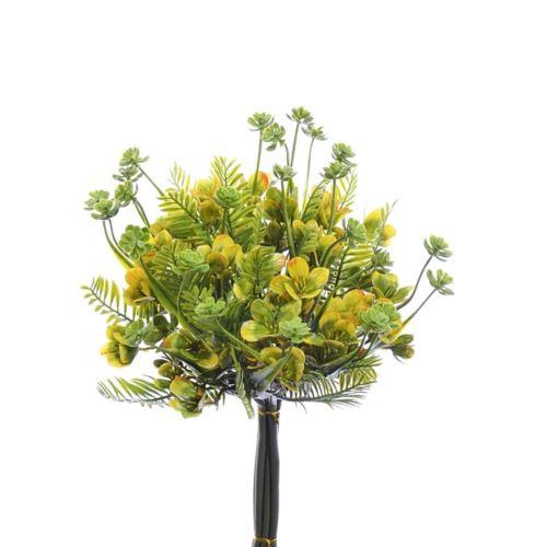 BUKIET Paprotka Kwiatuszki Sukulenty 35cm yellow