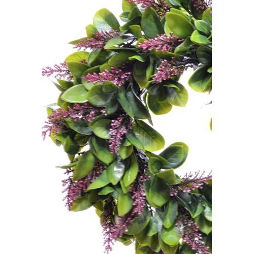 Wianek Liściasty z wrzosem 30cm green