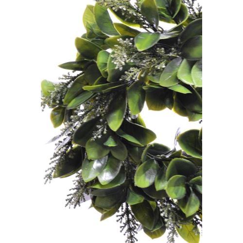 Wianek Liściasty z wrzosem 24cm green