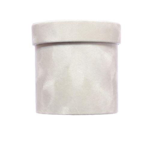 PUDEŁKO FLOWERBOX VELVET 12cm WHITE GRAY