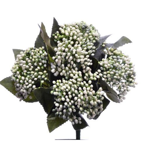 Bukiet drobnych kulek x5 28cm white green