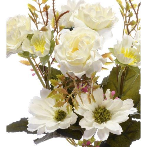 Bukiet drobnych mieszanych kwiatów 27cm wh cream