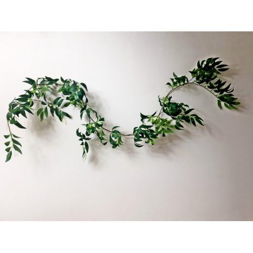 Girlanda zielona z liści ruskus 165cm