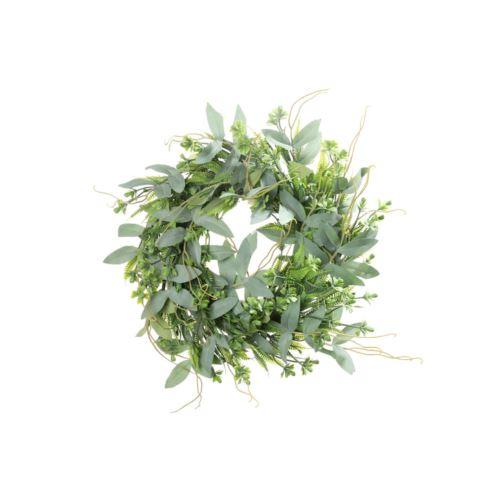 Wianek zielony listki i dodatki 35 cm Powder gree