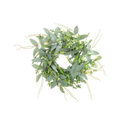 Wianek zielony listki i dodatki 32 cm Powder gree