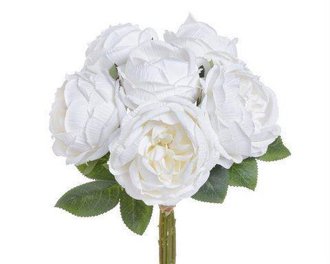 Bukiet róż x6 28cm white cream