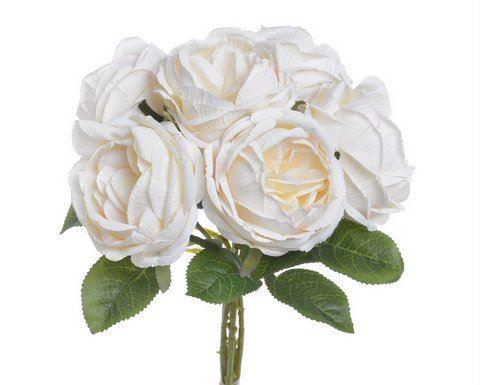 Bukiet róż x6 28cm cream lt pink