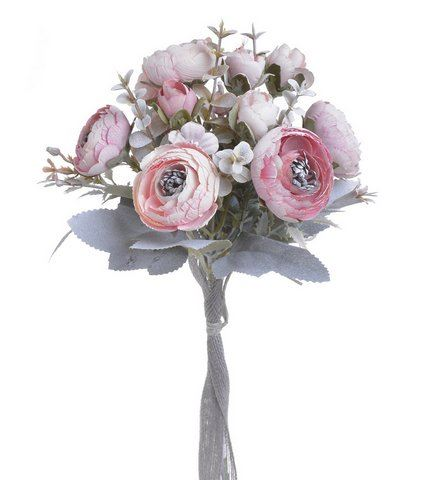 Ranunculus bukiet 6+3 30cm vintage lt pink