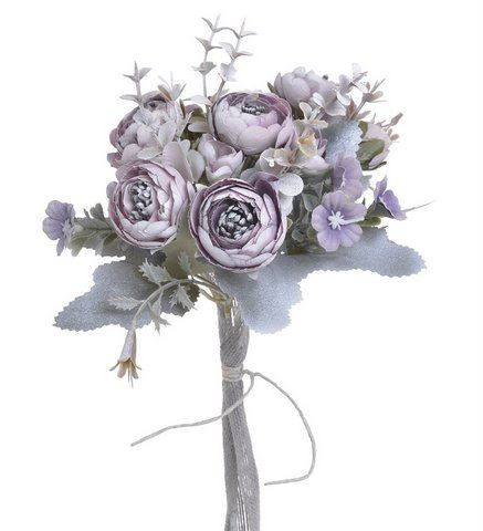 Ranunculus bukiet 6+3 30cm vintage violet