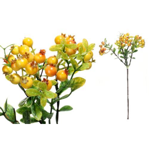 Gałązka z głogami 30cm yellow orange