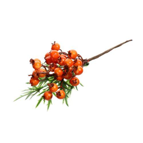 Gałązka z głogami i zielonymi listkami 20 cm oran