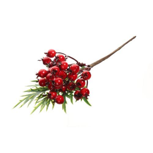 Gałązka z głogami i zielonymi listkami 20 cm red