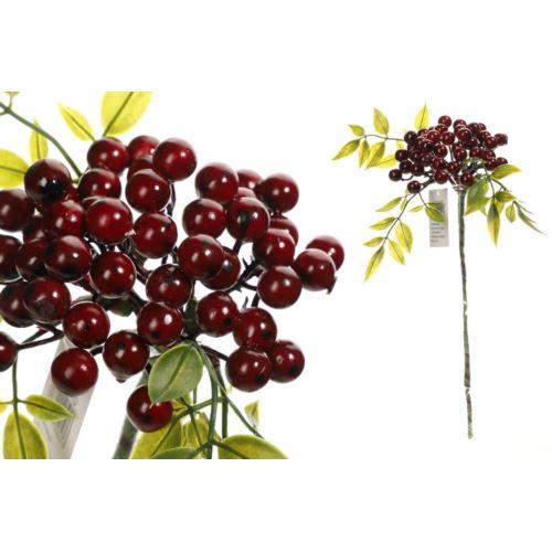Gałązka z owocami i zielonymi listkami 30 cm red