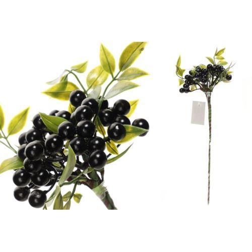 Gałązka z owocami i zielonymi listkami 30 cm black