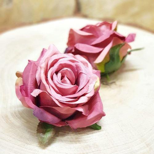 Róża głowa 10cm ly003 BEAUTY OLD PINK GREEN RD0098