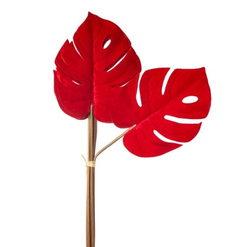 MONSTERA PHILO DELUXE VELVET 57CM 6SZT RED