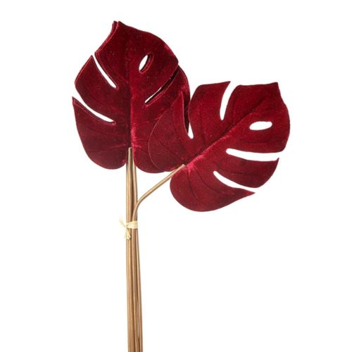 MONSTERA PHILO DELUXE VELVET 57CM 6SZT BURGUNDY