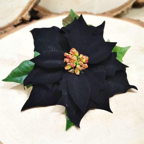 Poinsecja głowa velvet PX01397HL 19CM black