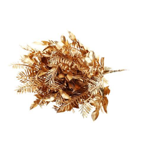 Pęczek gałązek ruskus z mini palmą 6szt. 28cm gold