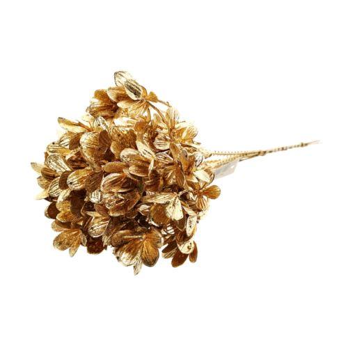 Pęczek gałązek drobne kwiatki 27cm gold glitter