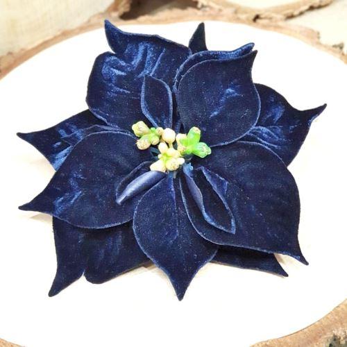 PICK POINSETTIA DELUXE VELVET CM.20 BLUE