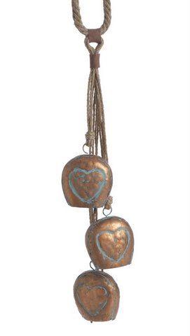 Dzwonki z metalu 3szt zawieszone na sznurze 58cm