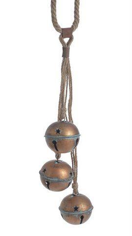 Dzwonki z metalu 3szt zawieszone na sznurze 55cm