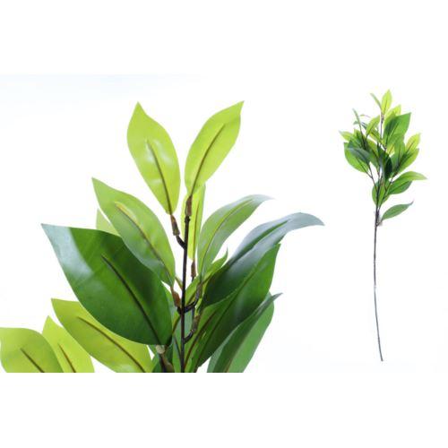 Gałązka z zielonymi liśćmi ficusa 70 cm soft touch