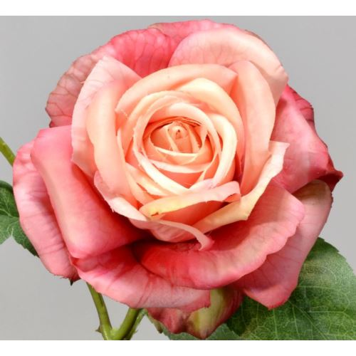 Róża gumowana - gałązka 65 cm pink