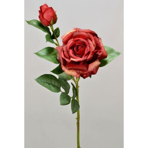 Róża gumowana - gałązka 65 cm red