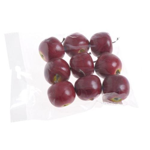 Jabłuszka sztuczne 4cm 9szt/kpl dk red green