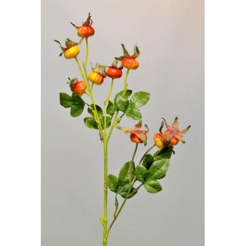 Dzika róża - gałązka 72 cm orange