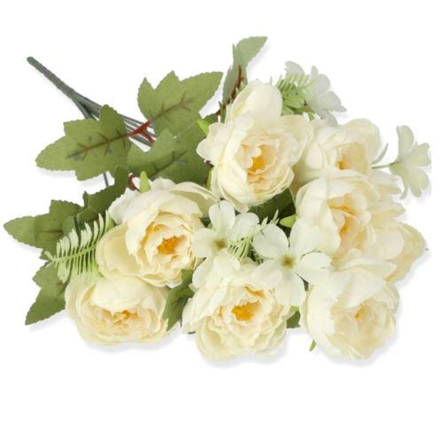 BUKIET PEONIA MINI 44CM /0141 WHITE CREAM