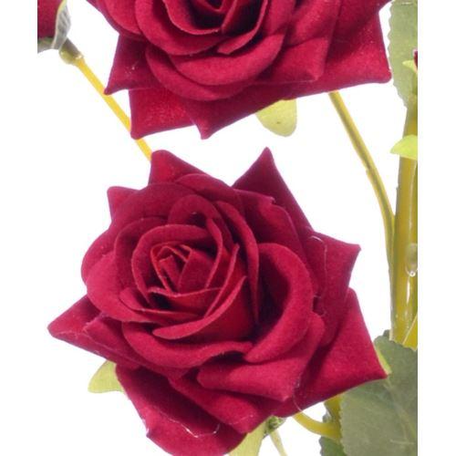 Róża x7 gałązka drobna 74cm velvet red