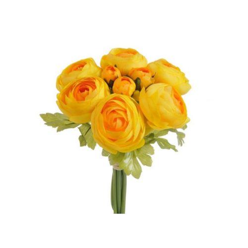 Ranunnculus duzy x 9 bukiet - sztucz. rosl. yellow