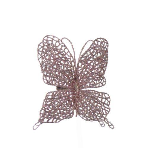 Motyl ażurowy na klipsie mauve pink