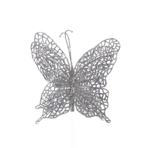 Motyl ażurowy na klipsie silver