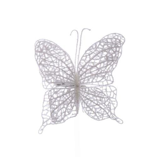 Motyl ażurowy na klipsie white