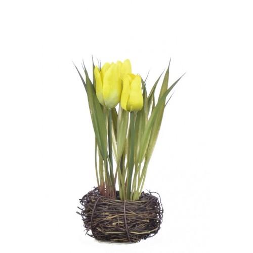 Tulipan w gniazdku 20 cm 35515-33 yellow