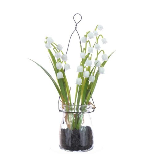 Lily of the valley in hanging glass 18 cm