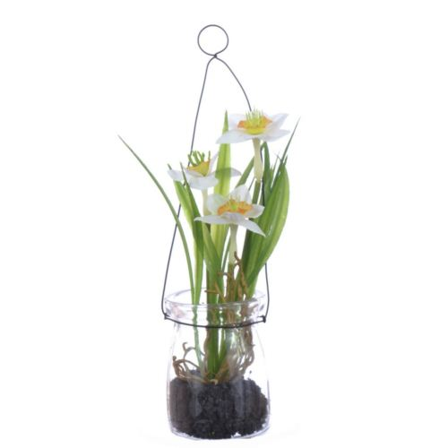 Narcissus in hanging glass 18 cm 35648-33 white ye