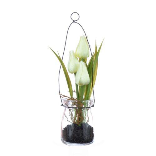Tulipany w szkle z zawieszką 18 cm, 35646-33 white