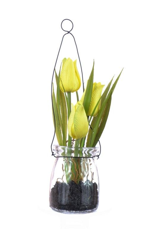 Tulipany w szkle z zawieszką 18 cm, 35646-33 yello
