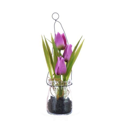 Tulipany w szkle z zawieszką 18 cm, 35646-33 pink