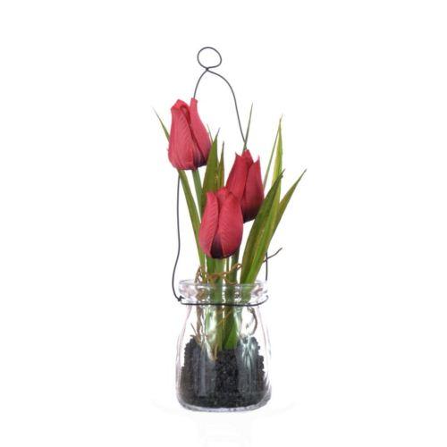 Tulipany w szkle z zawieszką 18 cm, 35646-33 red