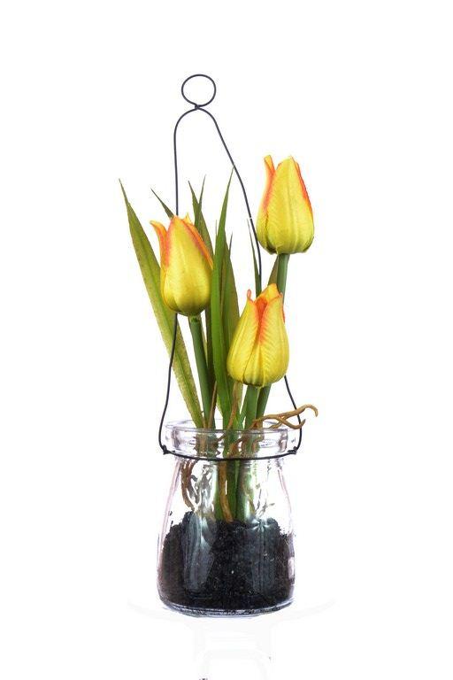Tulipany w szkle z zawieszką 18 cm, 35646-33 orang