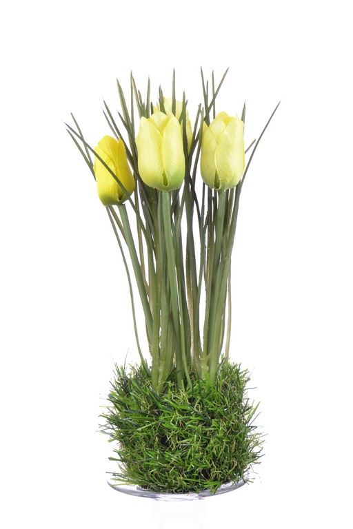 Tulip in grass  23 cm 35640-33 yellow