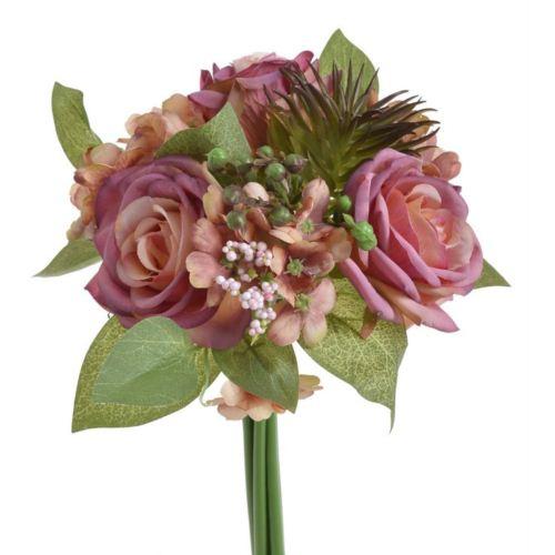 """Bukiecik mieszany z różą """"suculent"""" 29cm"""
