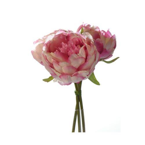 Peonie bukiet with 3 flowers 20 cm pink-cream z-12